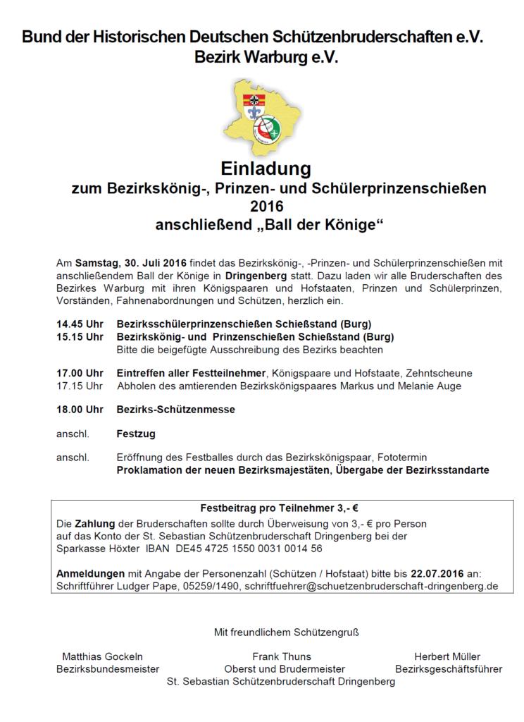 Bezirkskönig-, Prinzen- und Schülerprinzenschießen 2016 - Ball der Könige