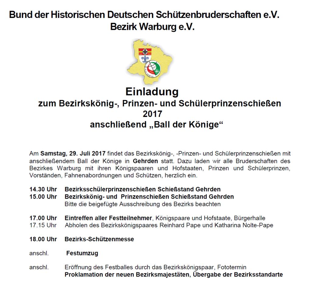 Einladung  Ball der Könige 2017 in Gehrden