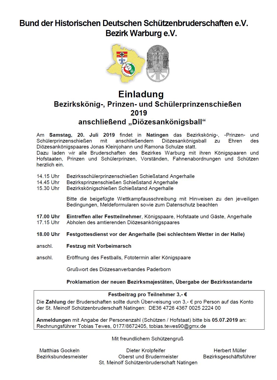"""Bezirkskönig-, Prinzen- und Schülerprinzenschießen 2019 anschließend """"Diözesankönigsball"""""""