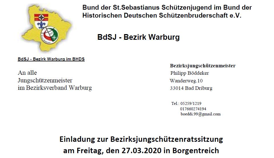 Bezirksjungschützenratssitzung 2020