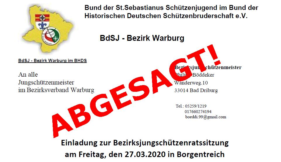Absage Bezirksjungschützenratssitzung