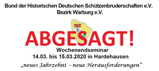Absage des Wochenendseminars in Hardehausen